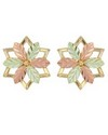 10 K TRI-COLOR STAR EARRINGS WITH 12 K ROSE & GREEN GOLD LEAVES.